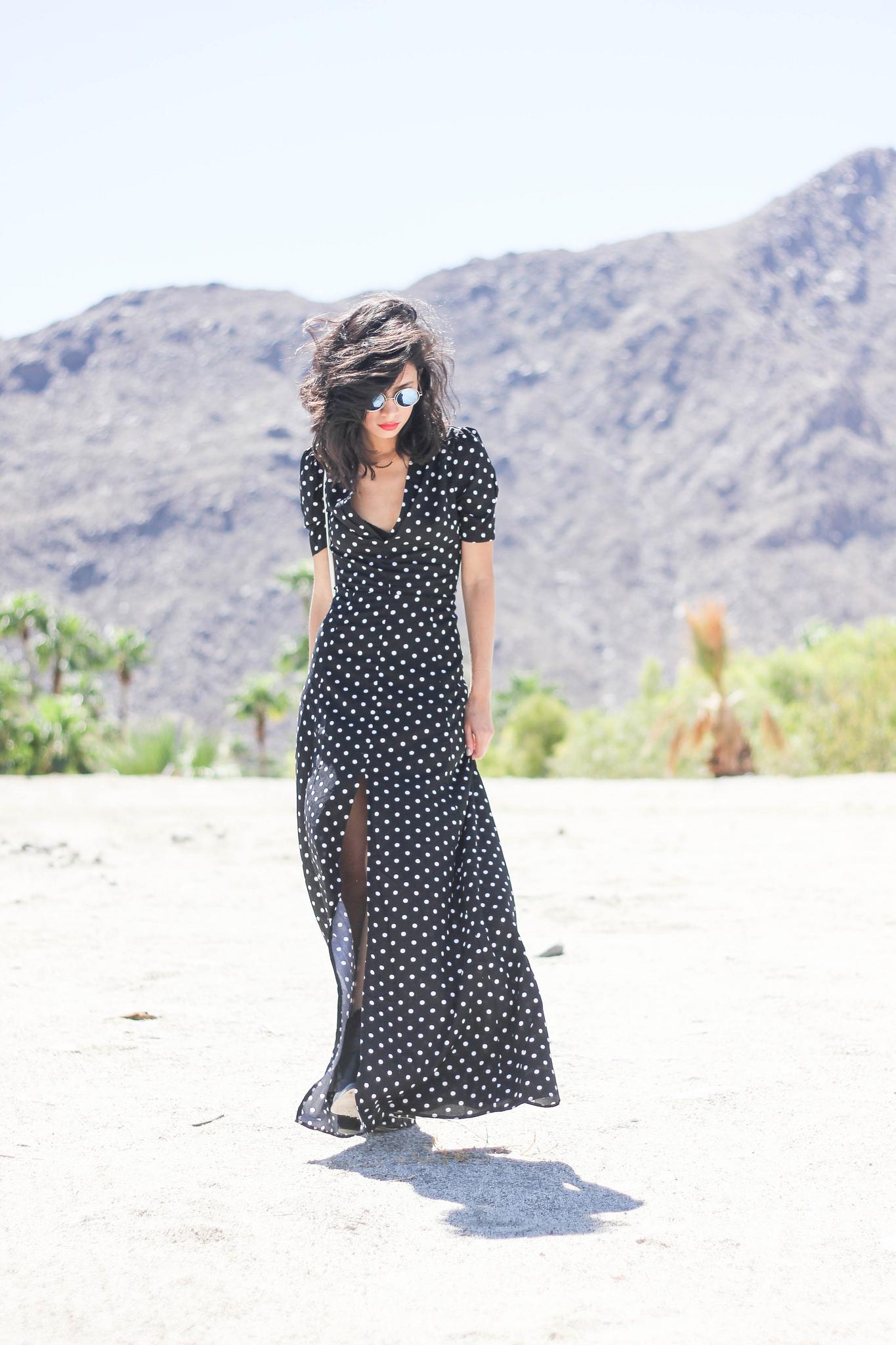 DailyLook maxi dress, 80'sPurple sunglasses, Gorjana x Nordstrom, Elizabeth James boots
