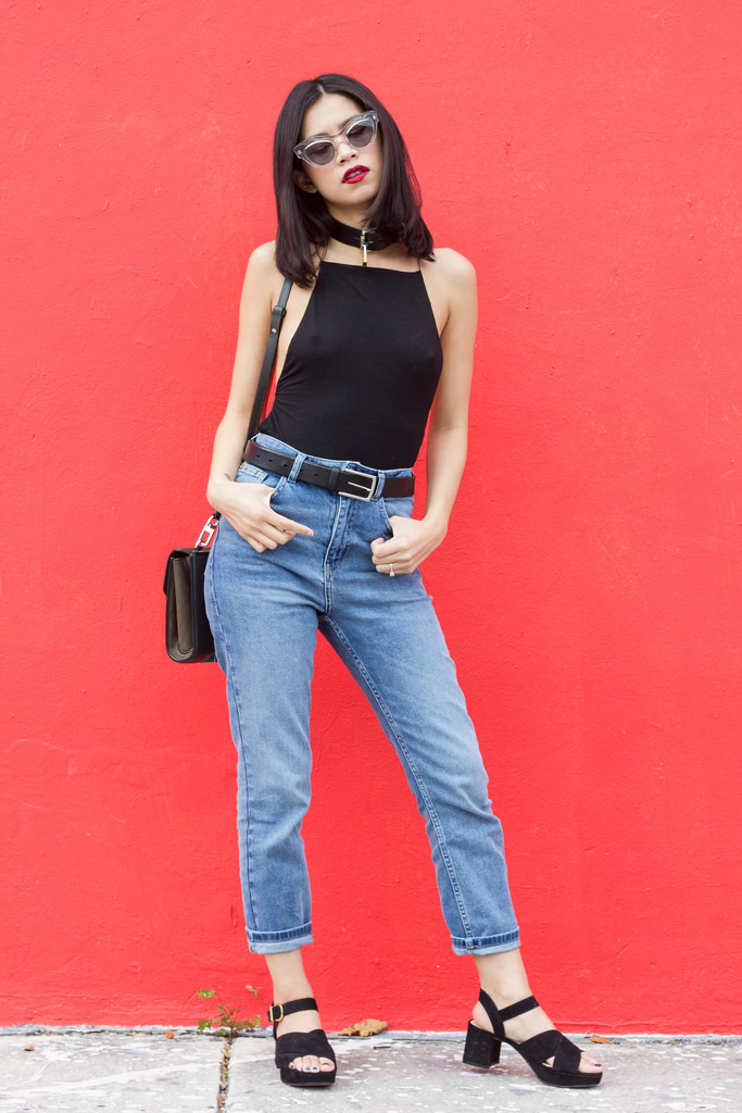 T by Alexander Wang bodysuit, Urban Outfitters high rise jeans, Alexander Wang chastity bag, Zara sandals, Miu Miu sunglasses